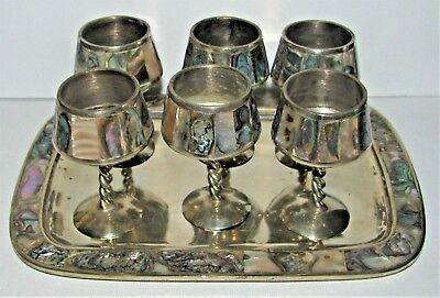 Set 6 Signed Mexico Silver Abalone Shell Cordial Goblets Tray