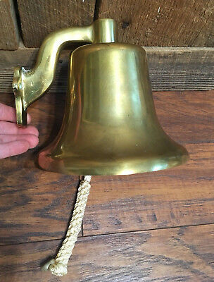 """Vintage Ship's Bell Heavy Solid Cast Brass 7"""" Nautical Marine Hanging Wall Decor"""