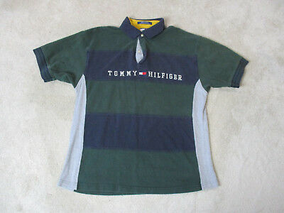 9c5cfa85 VINTAGE Tommy Hilfiger Polo Shirt Adult Large Green Blue Spell Out Rugby 90s