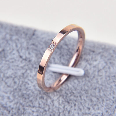 Stainless Steel White Sapphire Couple Simple Ring Silver/Rose Gold Band Size3-10