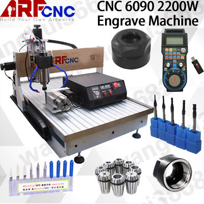 2.2KW USB CNC 6090 4axis Router Engraver Drilling Machine Water Cooling USA Ship