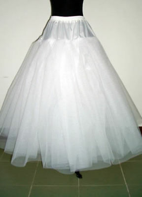 New White 3-Layers Hoopless Long Wedding Dress Underskirt/Underdress Petticoat