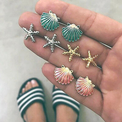 Fashion 4 Pairs Earrings Set Starfish Shell Colored Ear Stud Jewelry Z