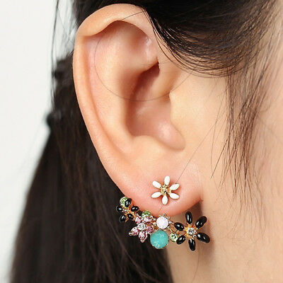Fashion Women Jewelry Elegant Crystal Rhinestone Ear Stud Flower Earrings Z