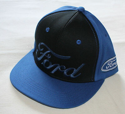 Ford Logo Mens Blue Black Embroidered Flat Peak Cap Hat One Size New 48d1ece07d20