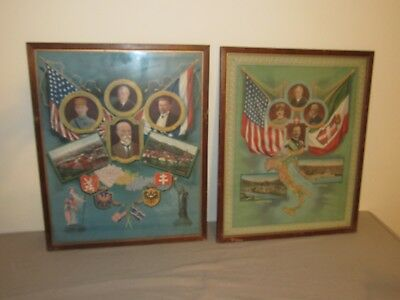 WW1 Woodrow Wilson Posters Italy and Slovakia (lot of 2 vintage posters)