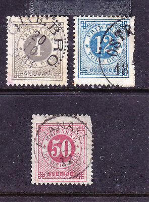Sweden postage stamps -1872 - No Posthorn - Perf 13 - 3 x Used_2