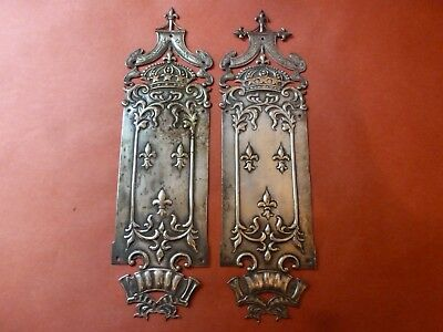 Pair Of Very  Ornate Victorian Brass Door Finger Plates With Crowns