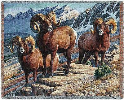Throw Tapestry Afghan - Mountain Monarch (Big Horn Sheep) 4717