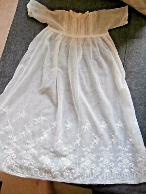 French Antique Off White With Embroidered Lace Babies Christening Gown