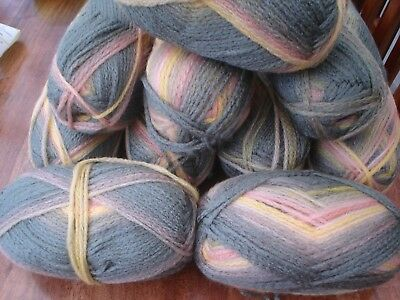 Huge lot of soft  chunky with wool knitting yarn colour changing 10 x 100g