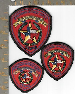3- Texas DPS Highway Patrol Hat Patches Dept Public Safety State Police Patch TX