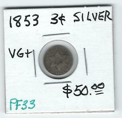 1853 Silver Three-Cent Pieces