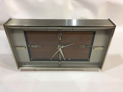 Vintage Mid century 1960s Metal & Wood Mantel Clock Metamec Retro Working