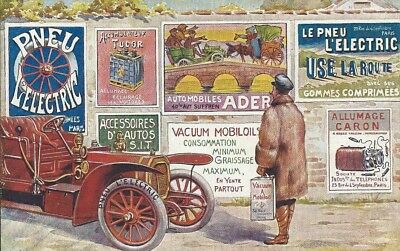 Colour art card showing veteran car & Vacuum Mobil OIl and other early adverts