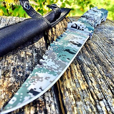 "10.5"" CAMO TACTICAL HUNTING KNIFE Survival Military Fixed Blade Bowie -W"