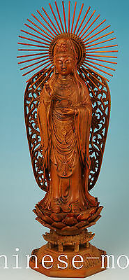big 20th antique Chinese old Boxwood Hand Carved Buddha kwan-yin Statue + box
