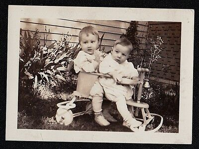 Antique Vintage Photograph Two Adorable Babies Sitting on Small Ride on Bike