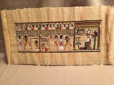 Rare Egyptian Themed Papyrus Hand Painted Art