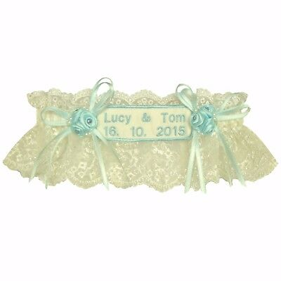 Personalised Wedding Garter, Ivory Or White Tulle Lace,Blue Embroidery & Trim