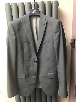 Mens Next Slim Fit Suit Grey Check 36s 30s
