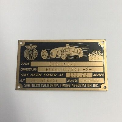 1965 SCTA NATIONAL TIMING ASSOCIATION TROPHY PLAQUE El Mirage Race vintage race