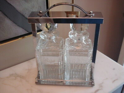 Midcentury Modern Crystal Liquor Decanter Set Stainless Steel Castor Scotch Rye
