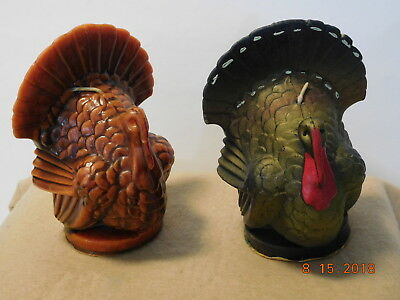 """2 Vintage 1950-60s Gurley Thanksgiving Turkey Candles Never Used 6 ½"""" Tall"""