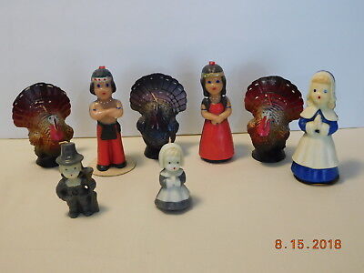 Vintage 1950-60s Gurley Thanksgiving Pilgrims Indian Boy & Girl & Turkey Candles