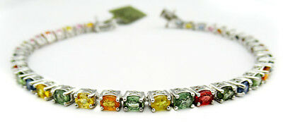 GENUINE 5.76 Cts MULTI-GEMSTONES  BRACELET .925 Sterling Silver * NEW WITH TAG