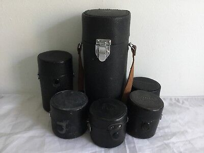 6x Genuine Vintage Asahi Pentax 300mm , 135mm , Small  lens Cases worth a look