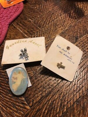 Lot of 3 Vintage Angel Religious Pin~Guardian Angel