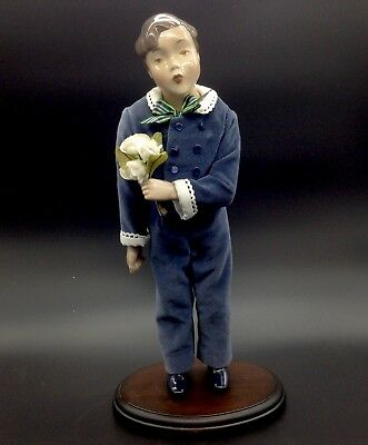 B&G Bing Grondahl Hans Boy Doll of the Year 1986 Wood Base Stand