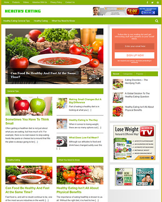 HEALTHY EATING GUIDE - Fully Featured Niche Website For Sale - Newbie Friendly