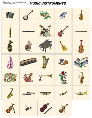 MUSICAL INSTRUMENTS. CD or USB machine embroidery designs files most formats