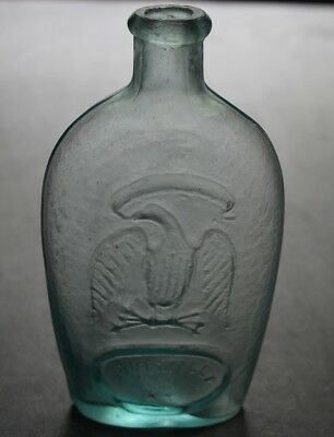 Antique Re-Fired Pontil Eagle & Shield Pint Louisville Glass Works Whiskey Flask