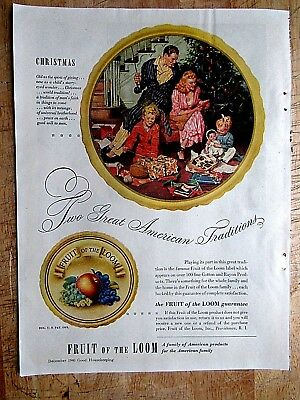1946 FRUIT of the LOOM Christmas  Mid-Century PRINT AD  8.5 x 11 inches