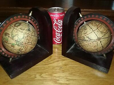 Vintage Old World Globe Bookends Wooden Wood PAIR GORGEOUS