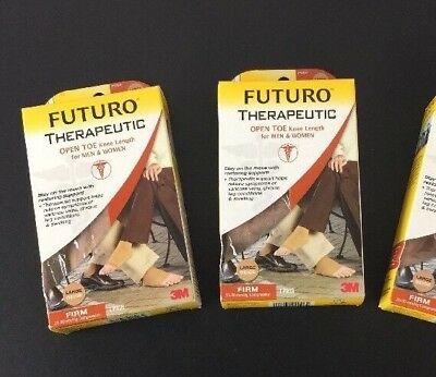 FUTURO Lot of 2 Therapeutic Support Open Toe Knee Length Sz Large 71050 Firm A1