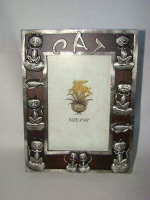 """1990 Whimsical & Humorous CAT Picture Frame 4"""" x 6"""" FRAME, Never Used"""