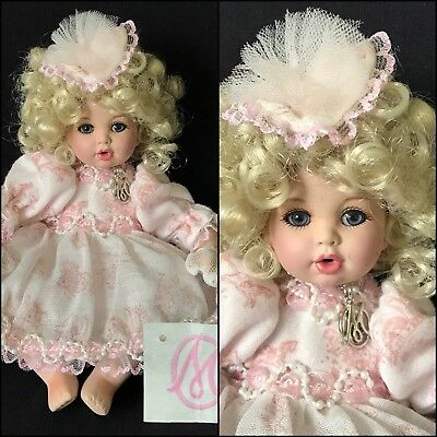 """8"""" Marie Osmond Bisque Seated Baby """"All Tailored Up"""" Tiny Tot Doll, 2006"""