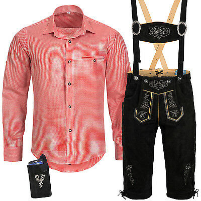 Traditional Costume Set Men's Lederhose with Strand Carrier Shirt Case