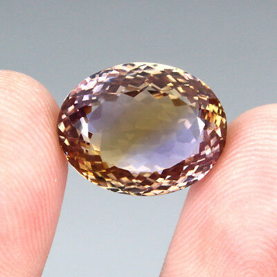 17.79ct. 17x13mm. Oval Cut 100%natural Top Bi Colors Purple Yellow Ametrine