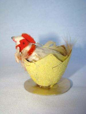 Adorable Old EASTER CHICKEN in Cracked Shell, COTTON BATTING