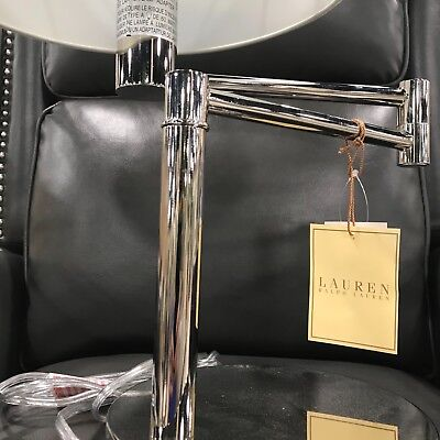 RALPH LAUREN Swing Arm Silver Chrome Adjustable Table Lamp ~New ~
