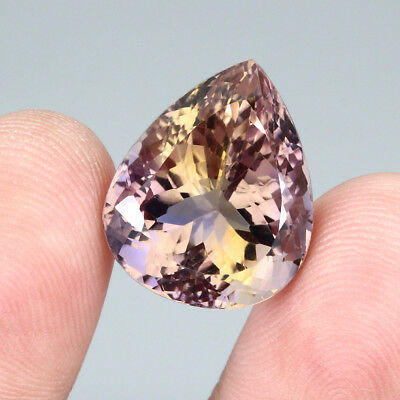 23.81ct. 20x16.5mm. Pear Cut 100%natural Top Bi Colors Purple Yellow Ametrine