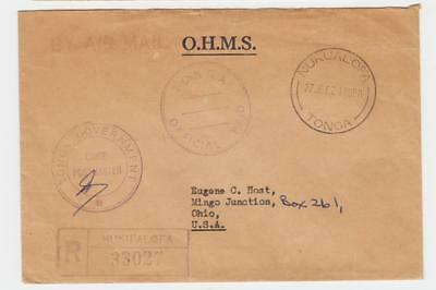 Tonga 1962 Ohms Cover Nukualofa To Usa, Registered Airmail, Pm Signed(See Below)