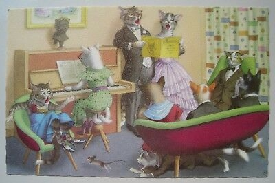 Alfred Mainzer Dressed Cats Singing, Piano Vintage Postcard #4892; Belgium; Mint