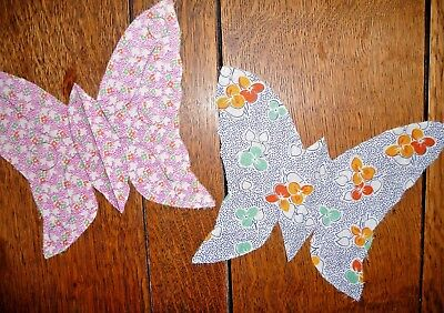 Antique Vintage Lot of 2 Cut BUTTERFLY Quilt Blanks  c.1930