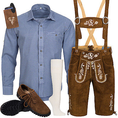 Traditional Costume Set Men's Leather Trousers with Uniform Carrier Shirt Shoes
